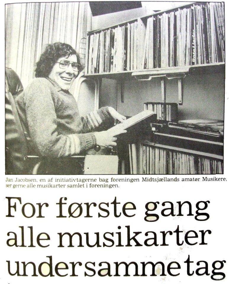 Et avisudklip fra Dagbladet i 1980. Det blev taget i forbindelse med starten på Midtsjællands Amatør Musikere (MAM).