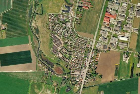 Luftfoto af området, hvor vi bor